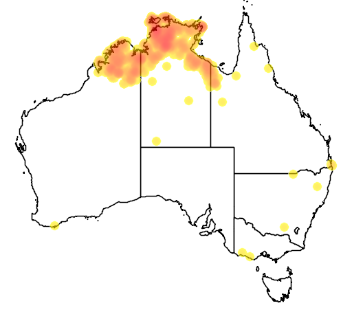 distribution map showing range of Platycercus venustus in Australia
