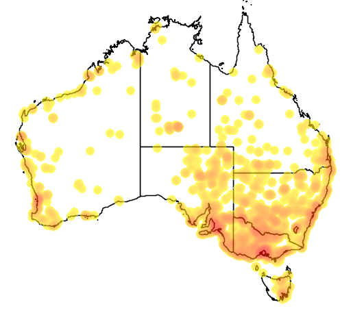 distribution map showing range of Porzana fluminea in Australia
