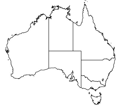 distribution map showing range of Puffinus creatopus in Australia