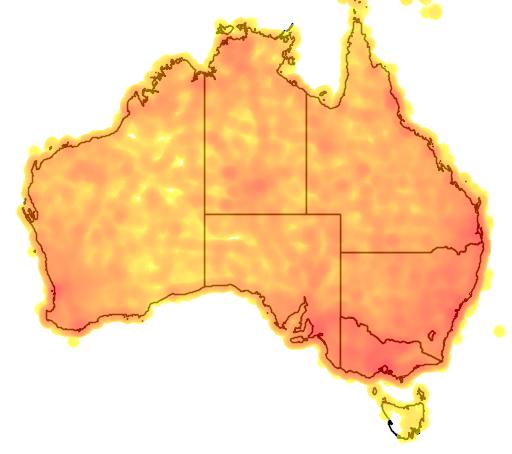 distribution map showing range of Rhipidura leucophrys in Australia