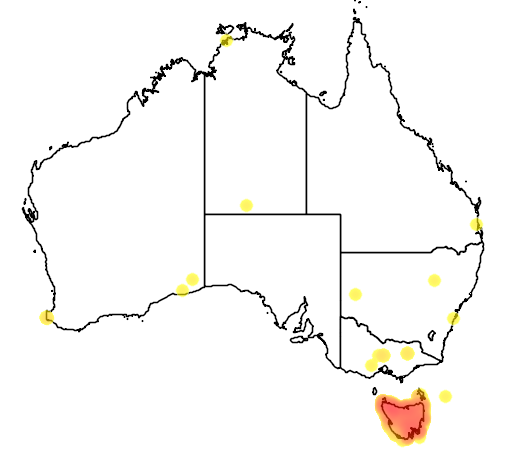 distribution map showing range of Sarcophilus harrisii in Australia