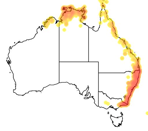 distribution map showing range of Smilax australis in Australia