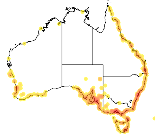 distribution map showing range of Suaeda australis in Australia
