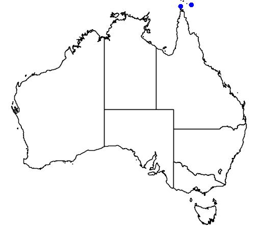 distribution map showing range of Varanus prasinus in Australia