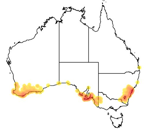 distribution map showing range of Varanus rosenbergii in Australia