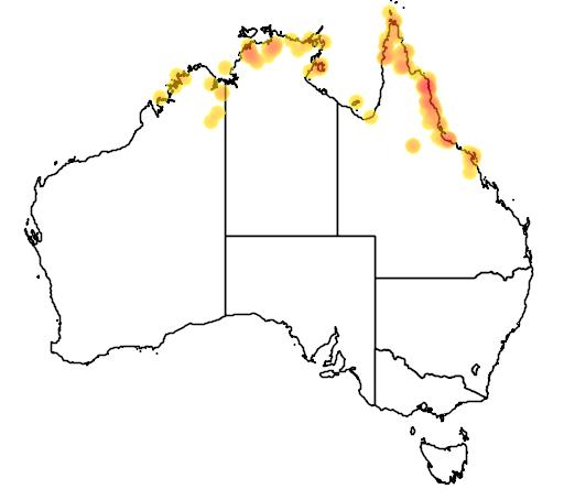 distribution map showing range of Acanthophis praelongus in Australia