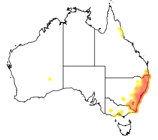 distribution map showing range of Antechinus stuartii in Australia