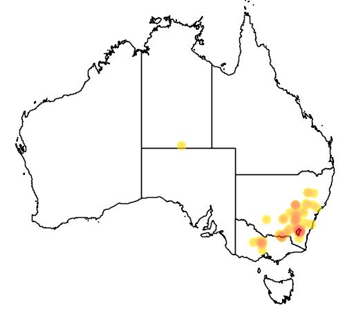 distribution map showing range of Aprasia parapulchella in Australia