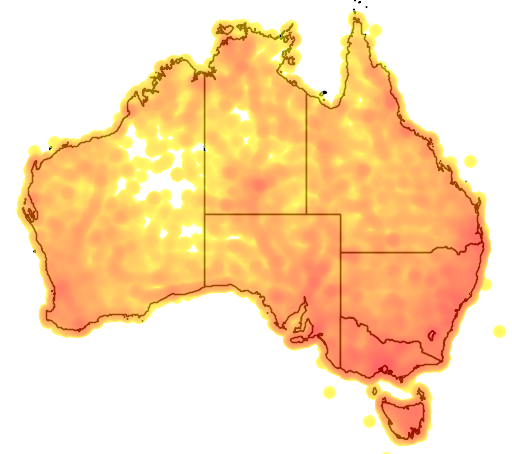 distribution map showing range of Aquila audax in Australia