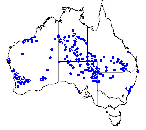 distribution map showing range of Aspidites ramsayi in Australia