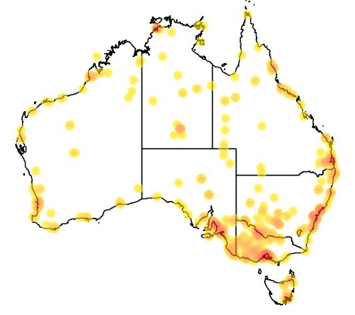 distribution map showing range of Calidris melanotos in Australia