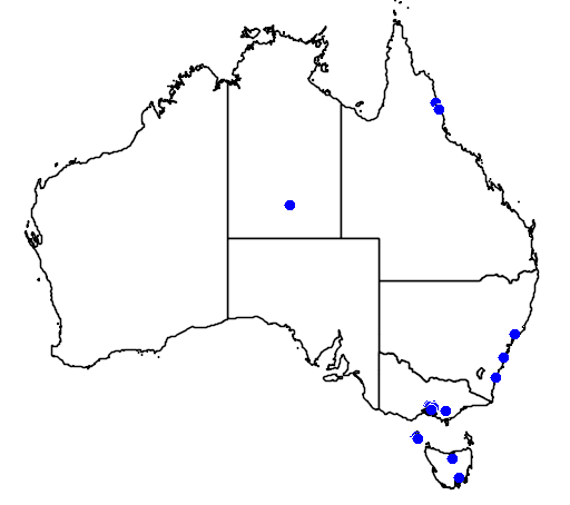 distribution map showing range of Callipepla californica in Australia