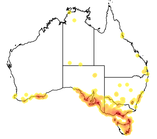 distribution map showing range of Cereopsis novaehollandiae in Australia