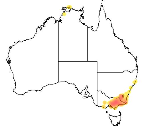 distribution map showing range of Cervus unicolor in Australia