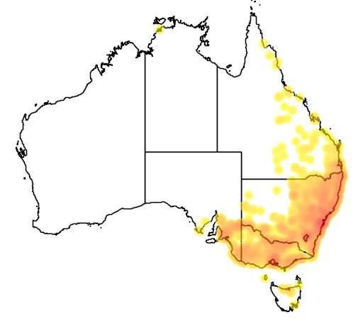 distribution map showing range of Chelodina longicollis in Australia