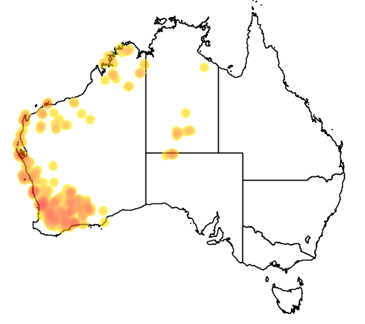 distribution map showing range of Crenadactylus ocellatus in Australia