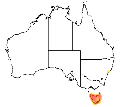 distribution map showing range of Crinia tasmaniensis in Australia