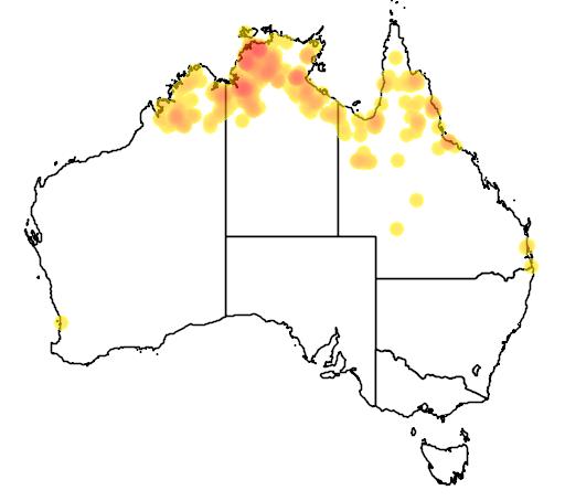 distribution map showing range of Crocodylus johnstoni in Australia