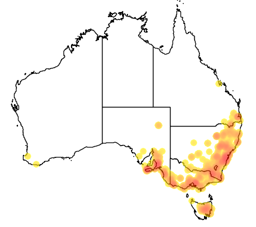 distribution map showing range of Dama dama in Australia