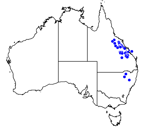 distribution map showing range of Denisonia maculata in Australia