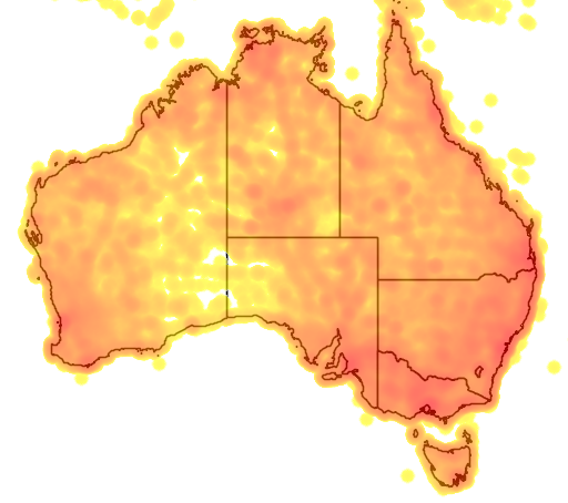 distribution map showing range of Ducula concinna in Australia