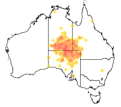 distribution map showing range of Eremophila macdonnellii in Australia
