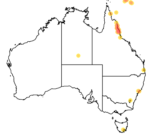 distribution map showing range of Erythrura trichroa in Australia