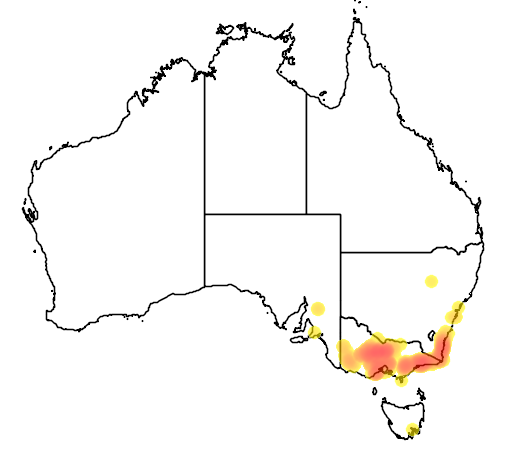 distribution map showing range of Eucalyptus tricarpa in Australia