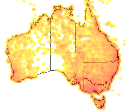 distribution map showing range of Gallicrex cinerea in Australia