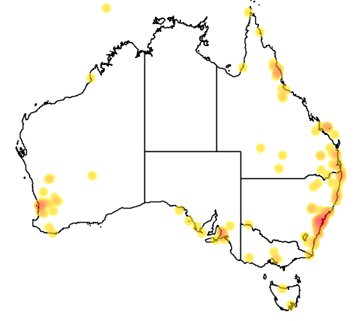 distribution map showing range of Gallus gallus in Australia