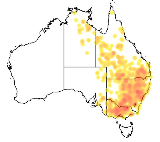 distribution map showing range of Grantiella picta in Australia