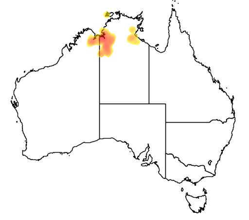 distribution map showing range of Grevillea prasina in Australia