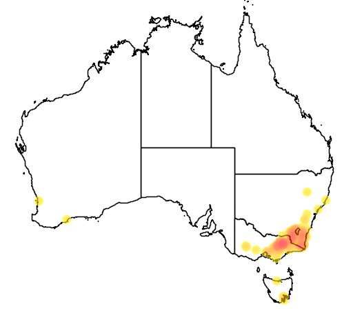 distribution map showing range of Grevillea victoriae in Australia