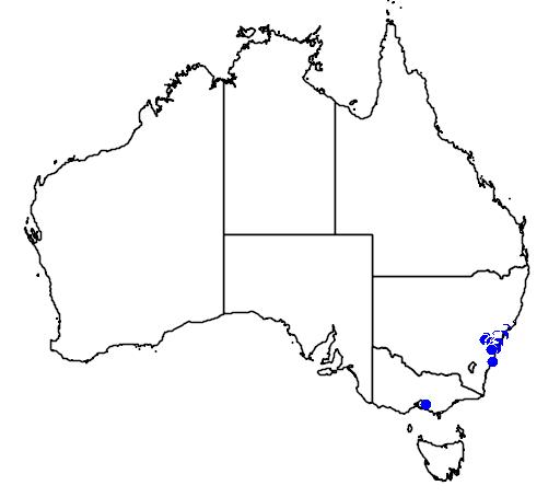 distribution map showing range of Hakea bakeriana in Australia