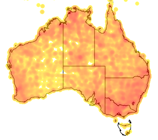 distribution map showing range of Lalage tricolor in Australia