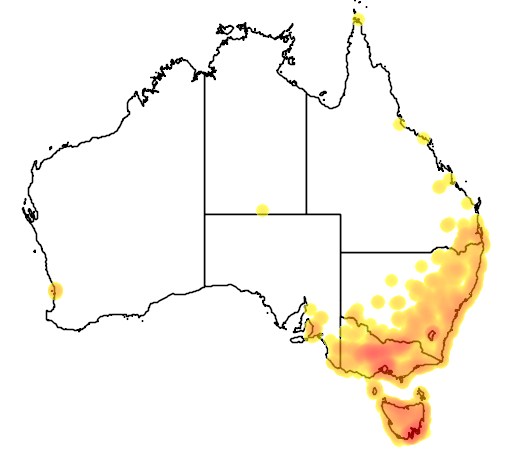 distribution map showing range of Lathamus discolor in Australia