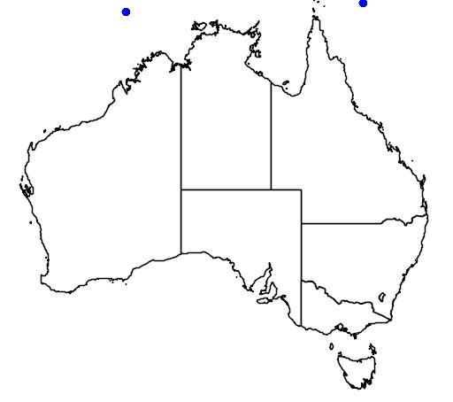distribution map showing range of Laticauda laticaudata in Australia