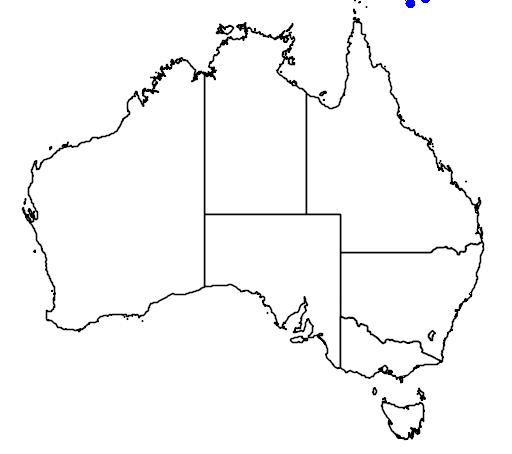 distribution map showing range of Leiopython albertisii in Australia