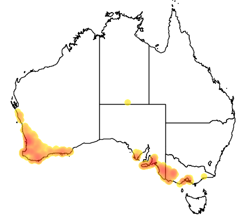 distribution map showing range of Leporella fimbriata in Australia