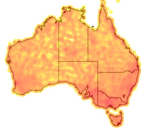 distribution map showing range of Lichenostomus chrysops in Australia