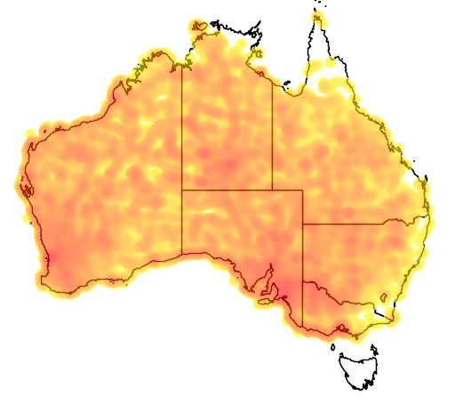 distribution map showing range of Lichenostomus virescens in Australia