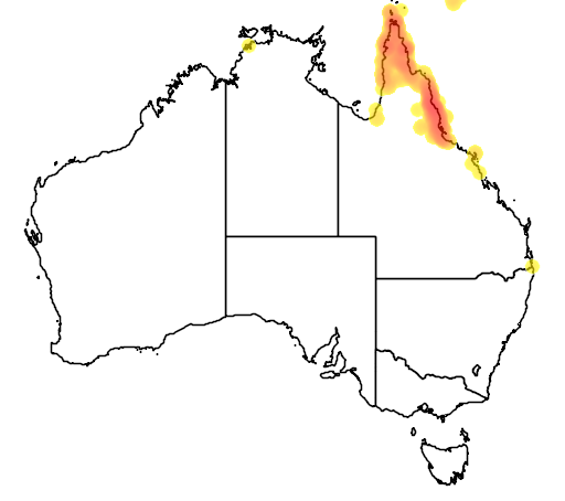 distribution map showing range of Meliphaga gracilis in Australia