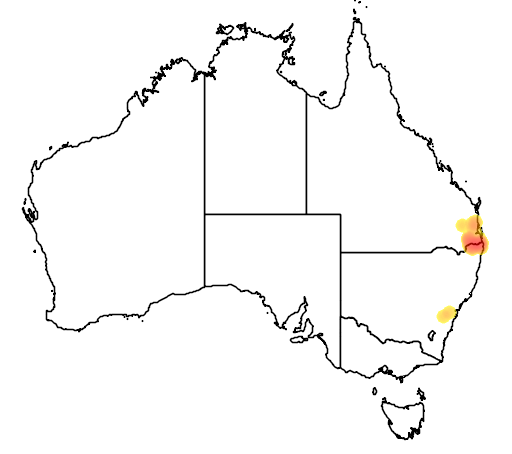 distribution map showing range of Mixophyes fleayi in Australia