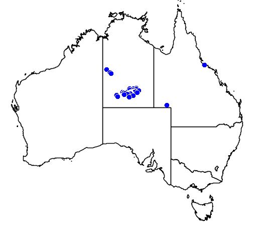 distribution map showing range of Morelia bredli in Australia
