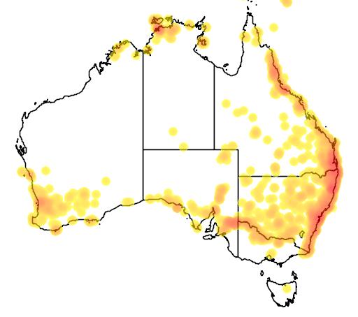 distribution map showing range of Morelia spilota in Australia