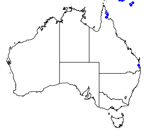 distribution map showing range of Morelia viridis in Australia