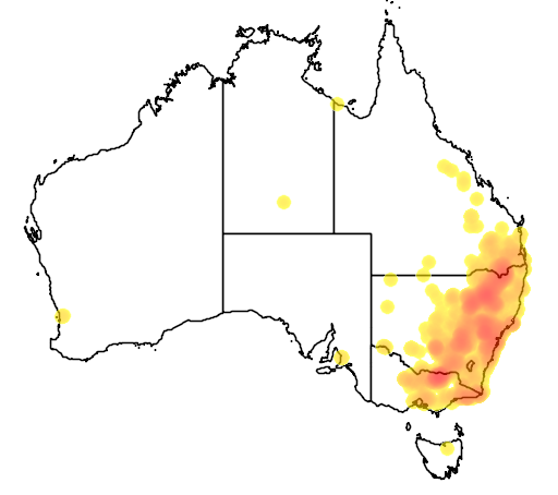 distribution map showing range of Neophema pulchella in Australia