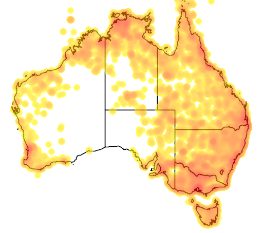 distribution map showing range of Nycticorax caledonicus in Australia