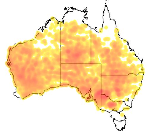 distribution map showing range of Oreoica gutturalis in Australia