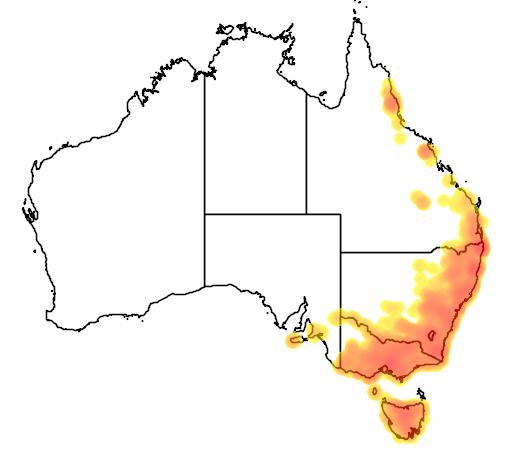 distribution map showing range of Ornithorhynchus anatinus in Australia